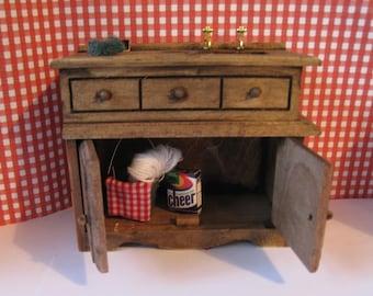 Dollhouse furniture, , Kitchen sink, sink, dark oak,filled sink, country sink, twelfth scale, dollhouse miniature