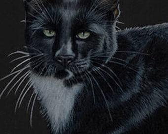 Black Cat Art Note Card