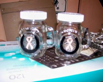 Mason Jar Mini S & P set Horseshoe with Breast Cancer