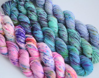 Ice Cream Parlour - set of 5 mini skeins, speckle dyed, 100g