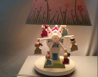 Vintage Ferris Wheel Mechanical Wind Up Musical Nursery Lamp with Shade