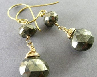 25 OFF Pyrite and Gold Filled Wire Wrapped Earrings, Mixed Metal Earrings