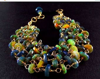 25 OFF Black Ethiopian Opal With Gold Filled Wire Wrapped Multi Strand Bracelet