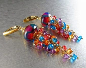 25 OFF Handmade Lampwork Beads With Apatite, Amethyst And Quartz Gold Filled Leverback Earrings