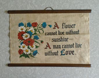 love wall hanging, linen and wood wall hanging, flowers and typography, words of wisdom, love and kindness saying, natural 1970s sign, boho