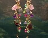 30% SALE Watermelon Tourmaline Earrings, Watermelon Slice Earrings, Wire Wrap Gold Chain Tassel Earrings, Pink Tourmaline Earrings Colorful