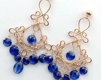 FLASH SALE Blue Chandelier Earrings Rose Gold Earrings Luxury Gemstone Chandelier Earrings Kyanite Blue Sapphire September Birthstone Handma