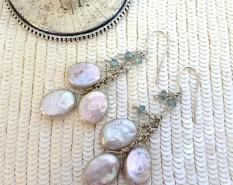30% SALE Silver Coin Pearl Earrings Wire Wrap Cluster Dangle Blue Zircon Gemstone Sterling Silver Long Pearl Dangle Earrings Bridesmaid Earr