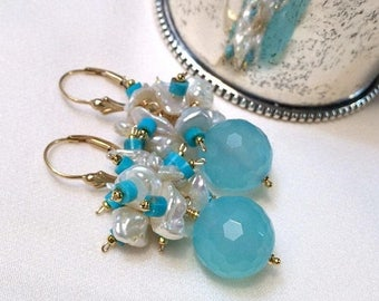 FLASH SALE Blue Cluster Earrings, Turquoise Cluster Earrings Keishi Pearl Blue Chalcedony Gemstone Wire Wrap Cluster Blue Faceted Stones
