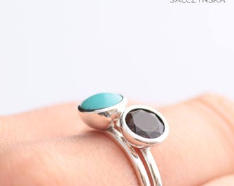 Stacking Rings with Turquoise and Smoky Quartz