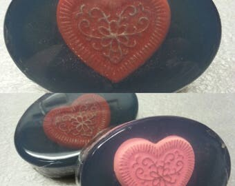 Heart Soap, Embedded, large bath bar, Choice of Colors and Scent
