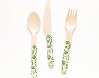 Wooden Utensil Sample Set - Fork Spoon & Knife - Choose Design - Sample