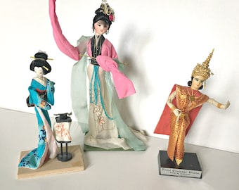 Free Ship Three Asian Oriental Souvenir Cloth Dolls from the 1980's - Instant Collection Japan China Thailand Thai  free shipping in USA US
