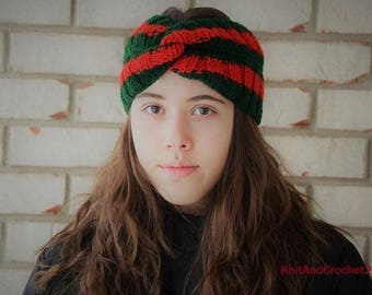 Gucci headband style, men, women, Christmas bandana, green, red