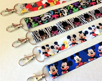 One Disney Mickey OR Minnie Mouse Ribbon Lanyard
