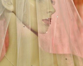 CRYSTAL VEIL - Rhinestone Veil, Soft Wedding Veil, Fingertip Length, Waltz Length Veil,2 Tier Rhinestone, Ivory Veil, 2 Layer Veil