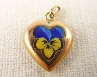 Antique Victorian 10K Gold Puffy Heart Pansy Charm