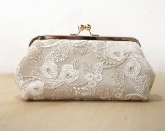 Champagne Bridal Clutch with Gold Thread Embroidery, Bridesmaid Gift, Bridal Clutch, wedding gift