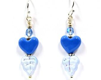 Blue Glass Heart and Iridescent Czech Glass Leaf Earrings