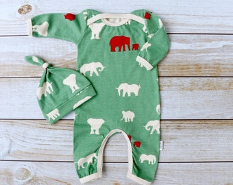 Organic Elephant Baby Romper - Newborn Going Home Outfit - Gender Neutral - Boy Coming Home Outfit - Elephant - Romper Hat - Made To Order