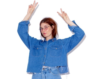 vintage 90s DENIM CROP TOP one size / asymmetrical cropped shirt oversized shirt boyfriend shirt button up shirt blouse raw hem 90s grunge