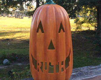Ceramic PERSONALIZED Tall Slim HALLOWEEN Jack o Lantern  PUMPKIN