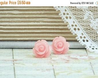 Coral Pink Rose Earrings Rose Stud Earrings Pink Studs Pink Stud Earrings Rose Studs Hypoallergenic