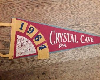 Crystal Cave PA. Souvenir Pennant