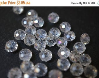 SUMMER CLEARANCE 50% OFF - Round Faceted Swarovski Clear with Ab Tint Rondelle Beads - 5mm - 20 pcs