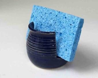 Sponge Holder, SHIPS FAST Deep Blue, Stoneware, Cobalt Blue Kitchen Sponge Holder, Wheelthrown Pottery, Nautical Blue, Deep Blue