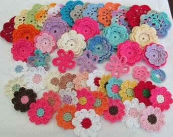Crochet  Flower Garden, Handmade, Appliques, Embellishments, Variety Pack - 50 flowers