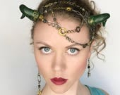 Steampunk Dragon Headdress and Earrings OOAK