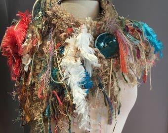 Handknit Shag Artistic Neckwarmer, Offset Knit Collar, Colorful scarf, Knit Fringed Cowl, hand dyed satin, tribal, peach, beige, aqua