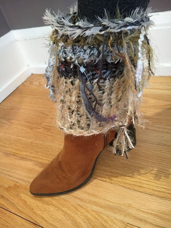 Handmade knit boot cuffs with fringe, boot accessories, fringe boot toppers, knit legwarmers, fringe fashion, fringed boot socks, boho