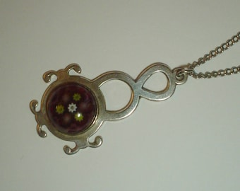 Sterling silver pendant Caithness Jewellery millefiori glass hallmarked Edinburgh 1971