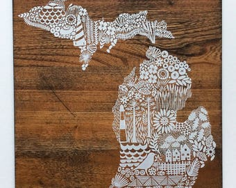 Screen print of Michigan onto Reclaimed, Repurposed Wood; ready to hang