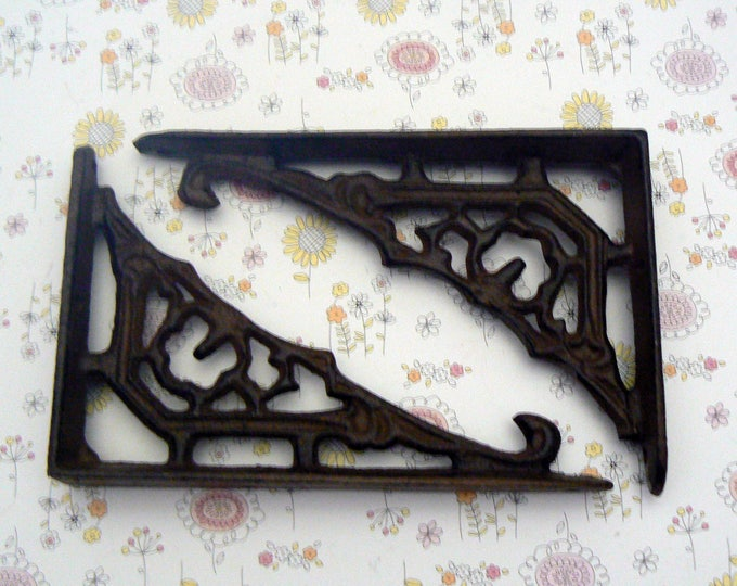 Shelf Bracket Cast Iron Floral Wall Unpainted Brace 1 Pair DIY Home Improvements