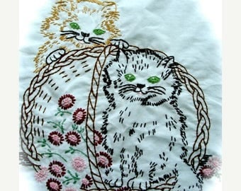 ONSALE Antique Embroidered Shabby Chic Kitty Cat Large Panel for Pillows