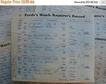 ONSALE Antique Watch Parts Repair Ledgers 1940s