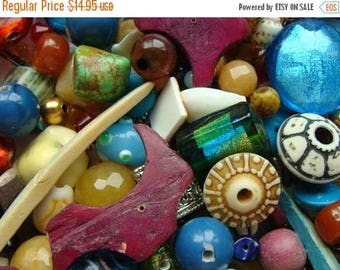 ONSALE Vintage Glass and New Bead Mixture Bohemian Collection 200pc Plus Lot Beads N051