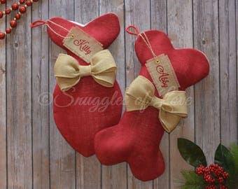 Red Burlap Dog Stocking - Red Burlap Cat Stocking - Personalized Red and Tan Burlap Pet Stockings - Dog Christmas Stocking - Cat Christmas