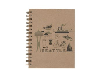 Seattle Journal - Notebook | Lined Pages | Spiral Bound | Letterpress | Hard Cover