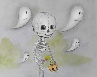 Skeleton Trick or Treating illustration by nreazon