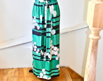 Groovy Long Daisy Skirt with Wrap Around Tie