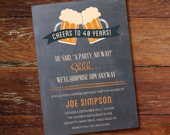 30th, 40th, 50th, 60th Surprise Birthday Party Invitation, Cheers to 40 Years, Digital or Printed Option