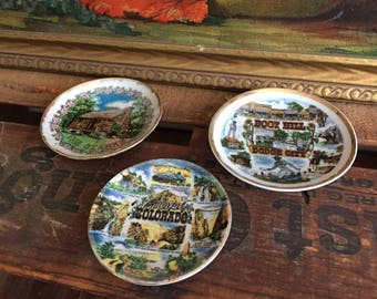 Souvenir Plate Set Vintage Tiny Ceramic Plates Saucers