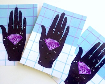 5 x  Postcard Set space hand with 80s memphis pattern & crystal gem