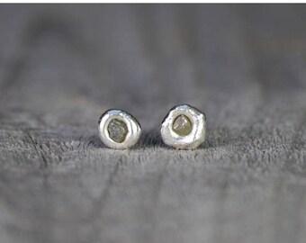 Summer Sale Raw Diamond Earring Studs, Rough Diamond Ear Studs In Gray, Organic Shape Studs, Diamond Wedding Gift Handmade In UK