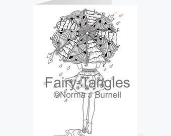 Printable Fairy Tangles Greeting Cards to Color by Norma J Burnell 5x7 April Rain Umbrella Fairy Card for Card Making adult Adult Coloring