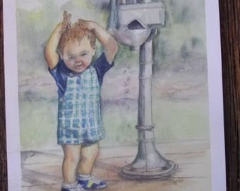Marc and the Water Pump Greeting Card - Photo of my original watercolor with Strathmore card and envelope and cardstock insert